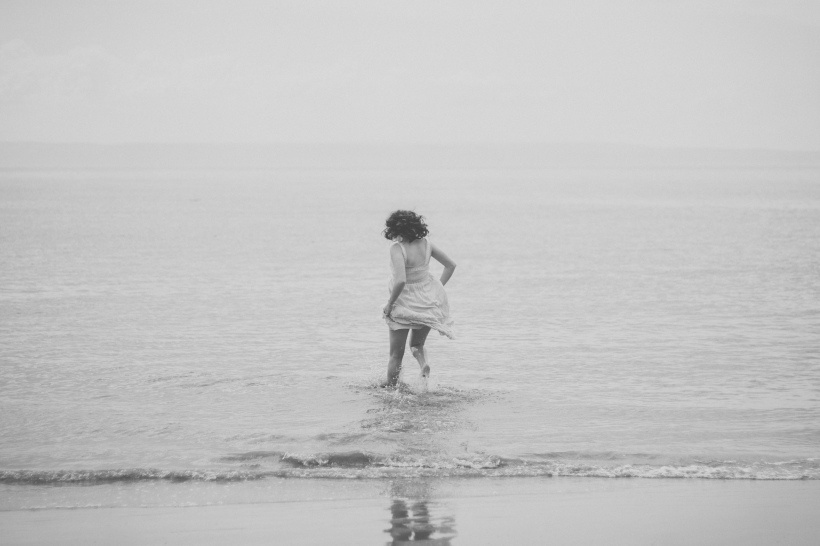running in the sea