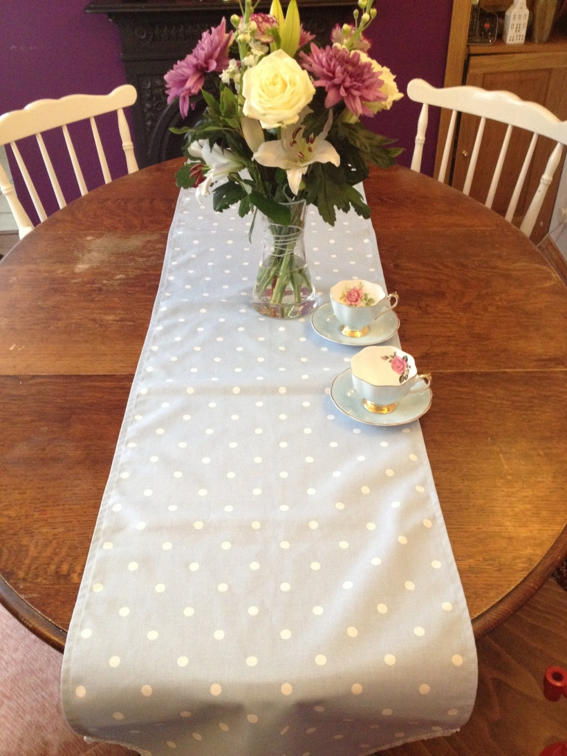 IMG_1657Handmade shabby chic polka dots and lace table runner, perfect for weddings