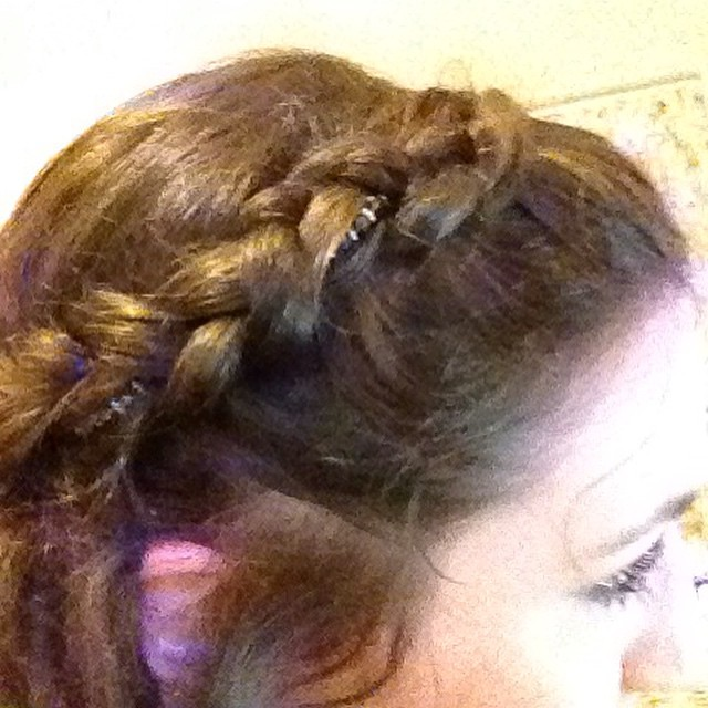 Medieval plaited hairstyle with beading